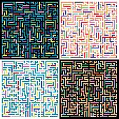 set of abstract vector labyrinth color backgrounds