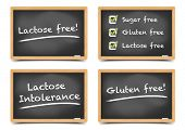detailed illustration of a set of blackboards with sugar, gluten, lactose free text and checkboxes, eps10 vector, gradient mesh included