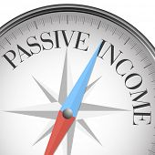 detailed illustration of a compass with passive income, eps10 vector
