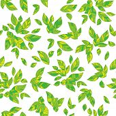 Decorative summer leaves background. Seamless pattern.