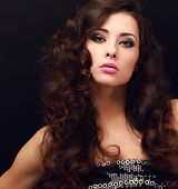 Beautiful Chic Female Model With Bright Makeup Looking