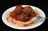Meatballs In Tomato Sauce With Spaghetti