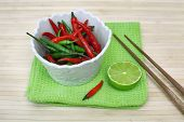 Decorative Composition With Chili Pepper In A Cup, Lime And Chopsticks.