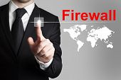 Businessman Pushing Button Firewall Global Internet