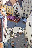 Tallinn. Estonia. Top view of medieval street in Old Town
