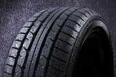 stock photo of rain  - Rain Tyre in heavy Rain for drive Safety - JPG