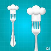 picture of chef cap  - Fork with chef hat art - JPG