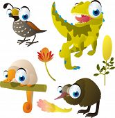 set of cute comic animals: quail, dinosaur, couscous, kiwi