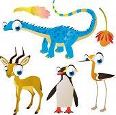 set of cute comic animals: dinosaur, impala, penguin, avocet