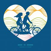 Vector colorful horizontal ogee couple on tandem bicycle heart silhouette frame pattern greeting car