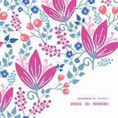 Vector pink flowers frame corner pattern background