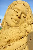 Atlantic City,NJ/USA-July 28,2014: Sand sculpting competition has evolved into a major performing arts attraction in Atlantic City, NJ. This piece of sand art was made by Melineige Beauregard.