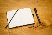 Empty Pages Notebook Marker Skew On Desk