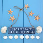 I do love to be beside the seaside sign, starfish, cockle and mother of pearl shells over wooden blue background.