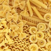 Italian pasta selection forming an abstract background.