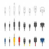 Vector various audio connectors and inputs set