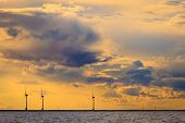 Wind Turbines Power Generator Farm Along Coast Sea