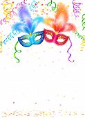 stock photo of confetti  - Bright carnival masks with confetti and serpentine on white background - JPG