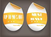 Card with two, isolated labels, text Up To 90 percent Off, Must Have