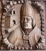 Wooden Engraving Of A Bishop At The Main Door Of Tui Cathedral, Spain
