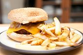 Cheeseburger With Sauteed Mushrooms And Onions With French Fries