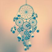 foto of dreamcatcher  - dreamcatcher Retro illustration with mint and orange colors - JPG