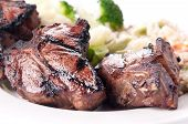 image of lamb chops  - bbq lamb chops grilled to perfection with vegetable risotto  - JPG
