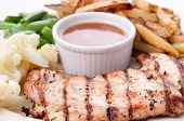 Bbq Chicken Breast With Fries, Jus And Vegetables