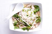 Vietnamese Pho Soup, An Ethnic Meal Of Chicken Soup, Broth, Bean Sprouts, Noodles And Basil Or Cilan