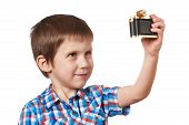 Little Boy Makes Selfie Photo Isolated