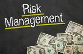 Text on blackboard with money - Risk Management
