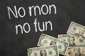 Text on blackboard with money - No mon no fun