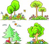 Cartoon Trees with Flowers