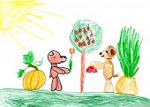 dogs present gifts. child drawing.