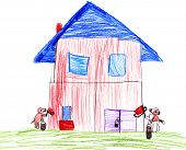 Dog paint their house. child drawing.
