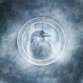 foto of primite  - Raven enclosed within a ring of mysterious carved runic symbols against a background of a stormy dark sky and a bird flock in flight - JPG