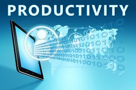pic of productivity  - Productivity illustration with tablet computer on blue background - JPG