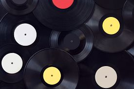 stock photo of disc jockey  - Many vinyl disks musical for abstract music background - JPG