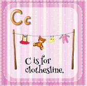 stock photo of clotheslines  - Flashcard letter C is for clothesline - JPG