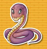 stock photo of poison  - Closeup poisonous snake on yellow background - JPG