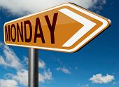 stock photo of monday  - Monday road sign event calendar or meeting schedule reminder  - JPG