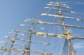 stock photo of mast  - Sails on the masts on a sailboat Kruzenshtern - JPG