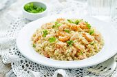 pic of quinoa  - quinoa with shrimp and parsley on a white background - JPG