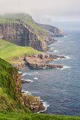 stock photo of faro  - Cliffs on the island Mykines on Faroe islands - JPG