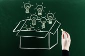 stock photo of thinking outside box  - drawing thinking outside the box concept on blackboard - JPG