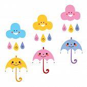 foto of raindrops  - cute umbrellas raindrops clouds characters vector illustration - JPG