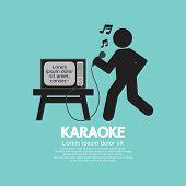 stock photo of karaoke  - Karaoke Singer Black Symbol Vector Illustration - JPG