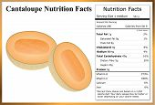 stock photo of cantaloupe  - Cantaloupe halves on white background with a nutrition label - JPG