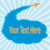foto of aeroplane  - Card with aeroplane on a blue background - JPG