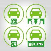 image of environmentally friendly  - 4 green icons represent environmentally friendly transportation - JPG
